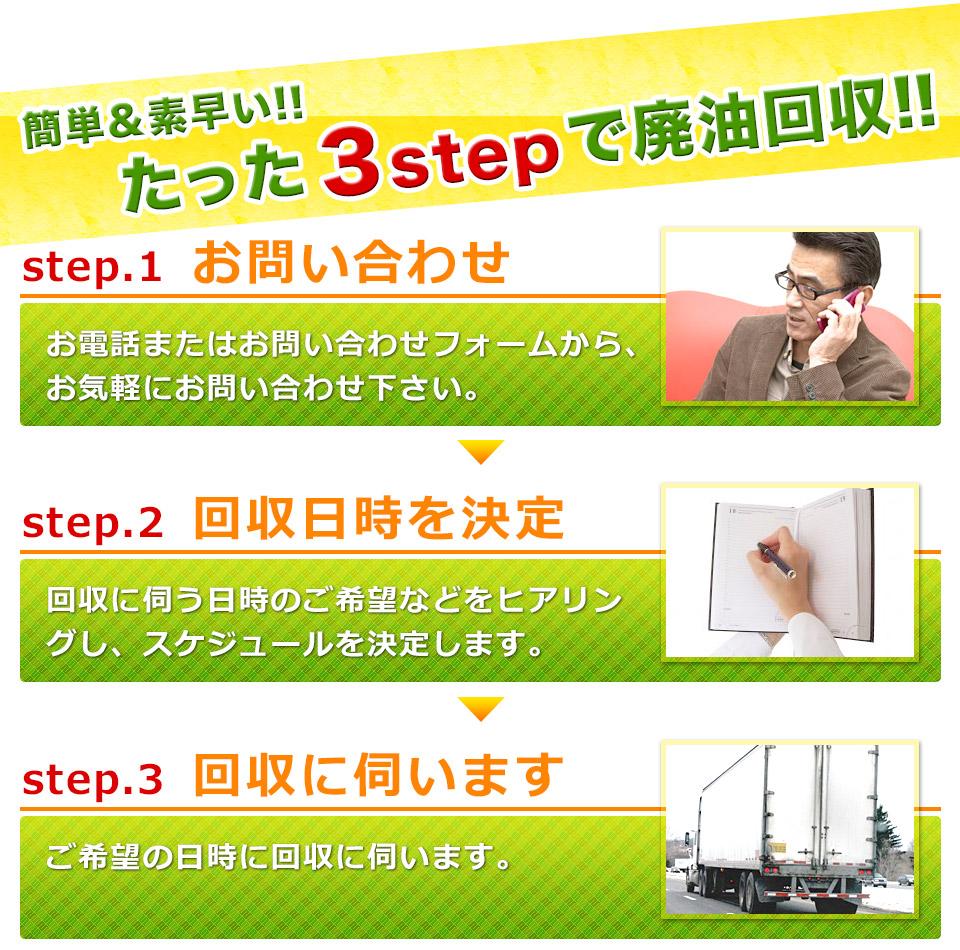 簡単、素早い、3ステップで廃油回収。お電話、またはお問い合わせフォームよりお問い合わせください。その後、回収日時を決定し、ご希望の日時に回収に伺います。